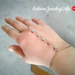 Antique Gemstones Slave Bracelet Hand Chain